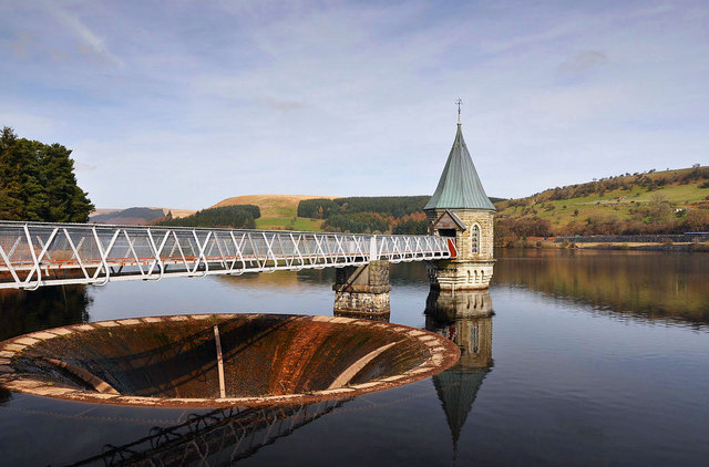 Pontsticill Reservoir and the outflow