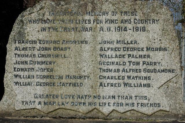 Names on Llangrove War Memorial