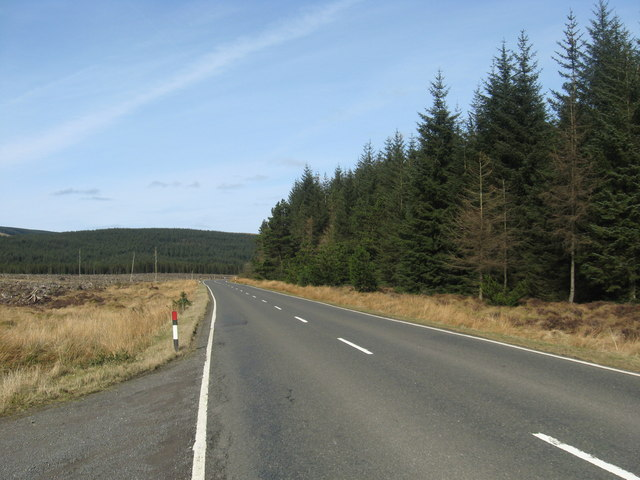 The A701 heading north past Little Bog Hill