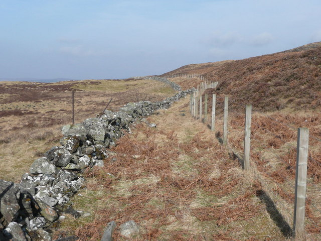 Dry stone wall replaced by fence