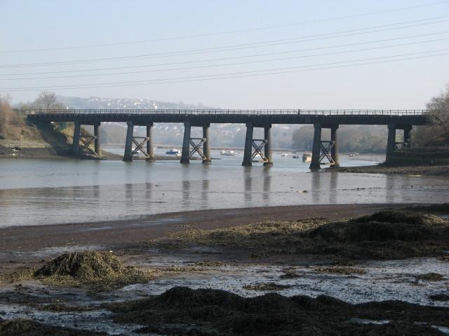 Tamerton Railway Bridge from the beach