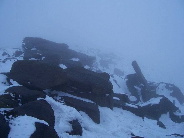 Rocks on Higger Tor during a blizzard