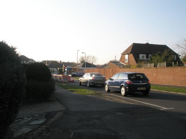 Temporary traffic lights in Hooks Lane