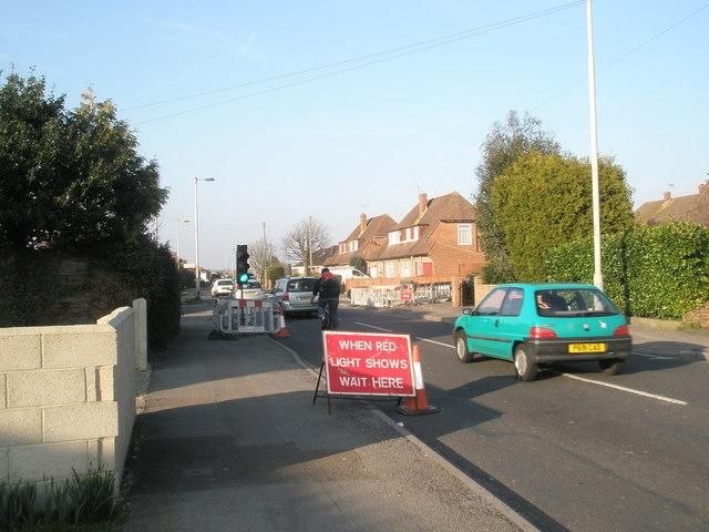 Temporary traffic lights in Park Lane