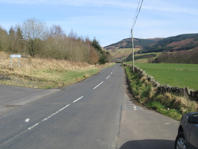 The A708 heading towards the hills, from Moffat
