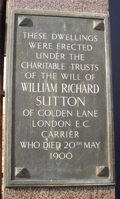 Plaque at Entrance to William Sutton Estate Chelsea