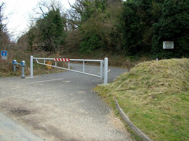 Closed road near Shrubland Hall