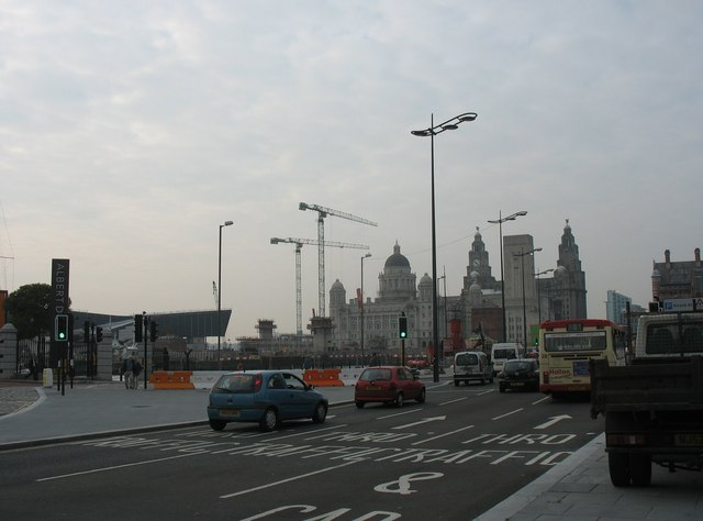 View across the north-bound lanes of the A5036 towards the gates of the Albert Dock