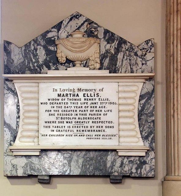 St Botolph without Aldersgate, London EC1 - Wall monument