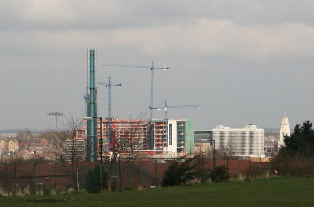View of town developments from Broadway