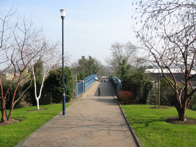 Bridge over railway from university campus