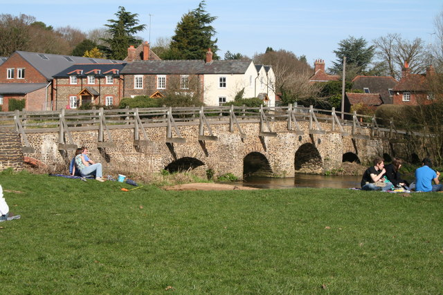 River Wey and the old bridge, Tilford Green