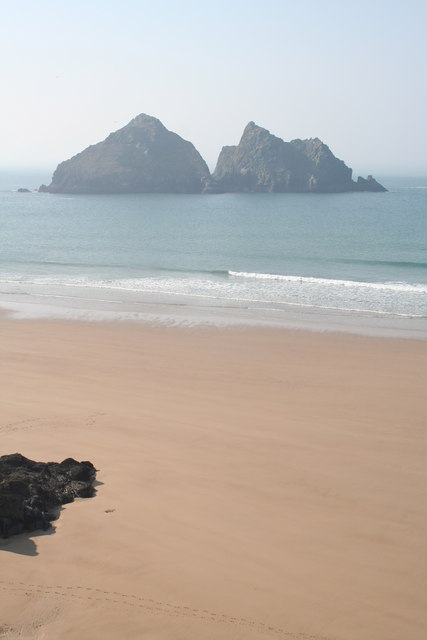 The beach at Holywell Bay