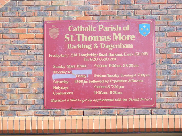 St.Thomas More Catholic Church Sign, Barking
