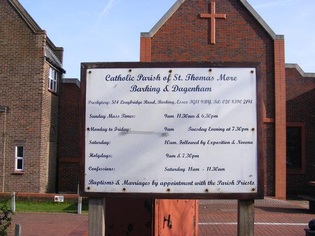 St.Thomas More Catholic Church Sign, Barking
