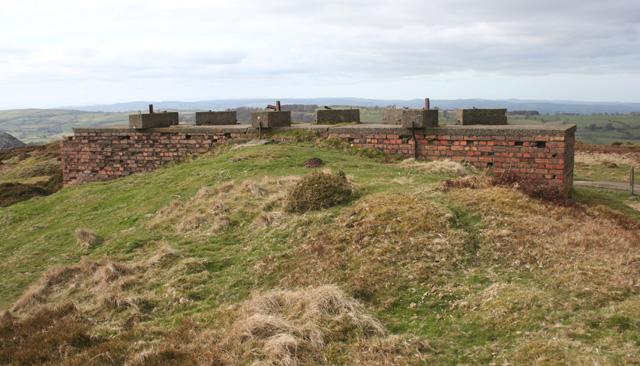 Remains of WW2 radar mast by Cyrn-y-Brain track