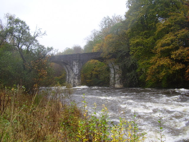 Disused rail bridge across the River Dochart