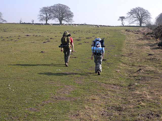 Backpackers on Hadrian's Wall National Trail