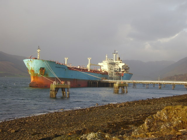 Tanker at refuelling station Loch Striven