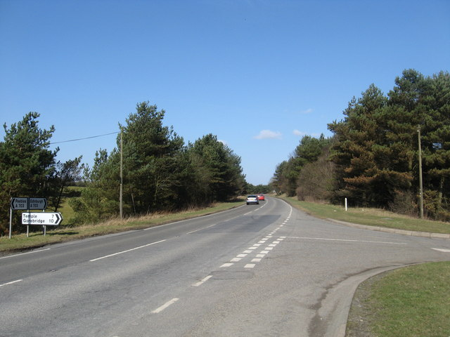Looking north on the A703 from its junction with the Westloch road