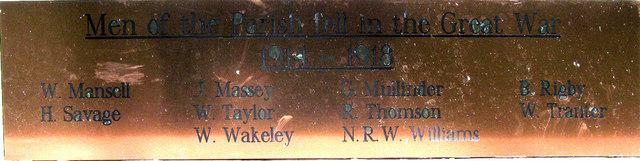Donnington War Memorial WW1