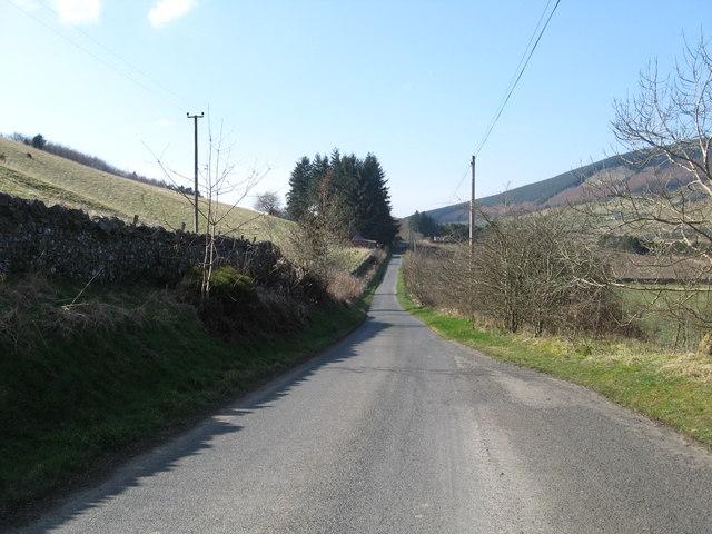 Minor road above the Tweed heading to Walkerburn