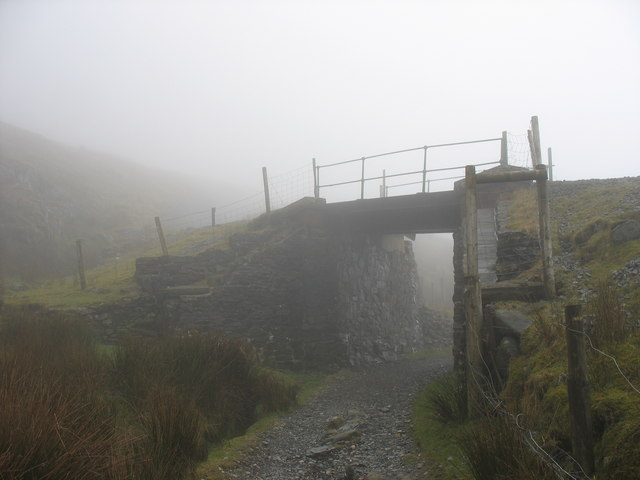 A misty Pont Half-Way Bridge