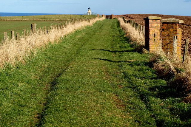 View of Track and Tip of Scurdie Ness Lighthouse