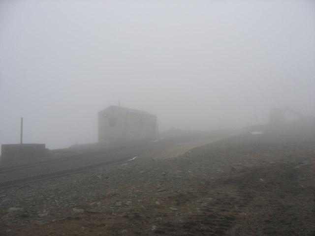 A foggy February day at Clogwyn Station