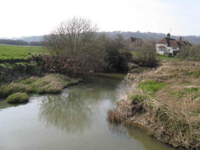 River Arun flowing south past Pallingham Quay Farm