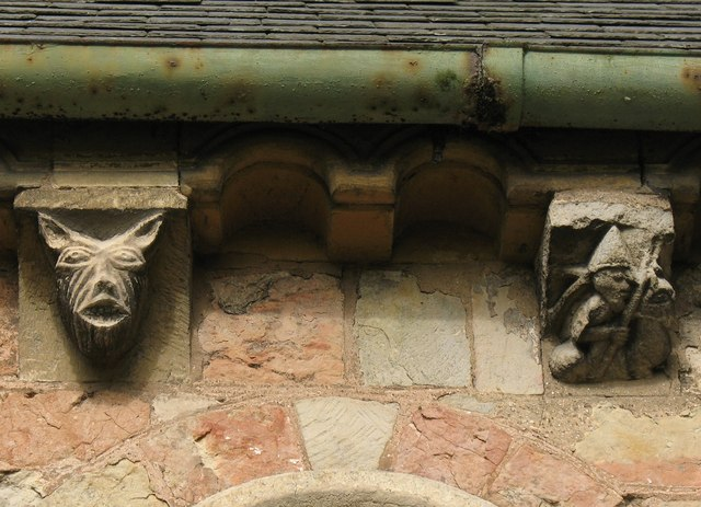 Corbel table carvings, St Martin's church