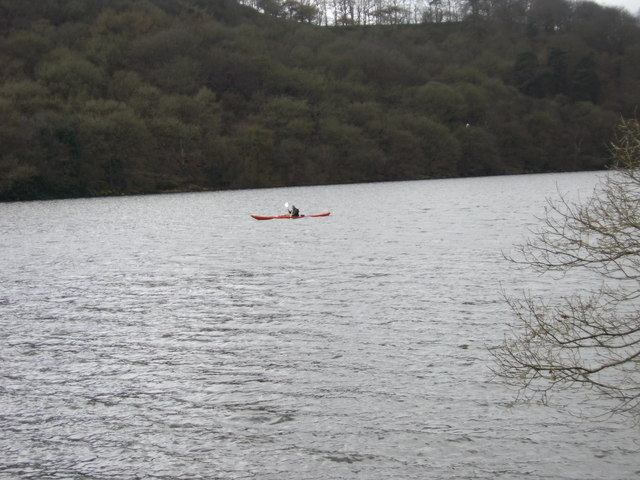 Solitary kayaker on Rudyard Lake