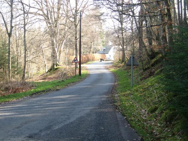 Minor road, above the Tweed, heads towards Elibank