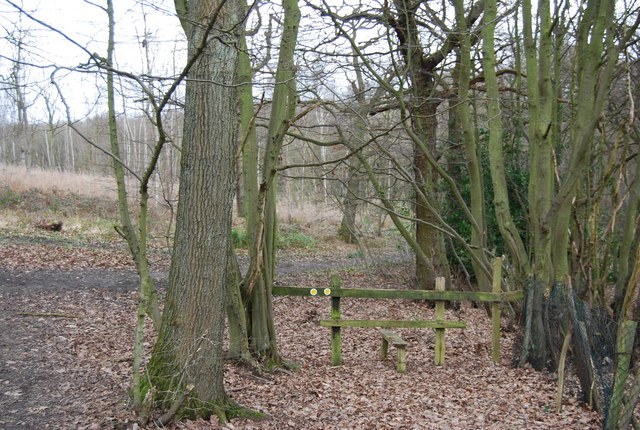 Stile at the western edge of Clowes Wood