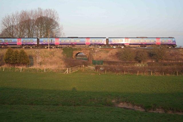 Train in the setting sun