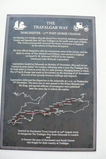 Trafalgar Way Plaque, The Antelope Inn, Dorchester