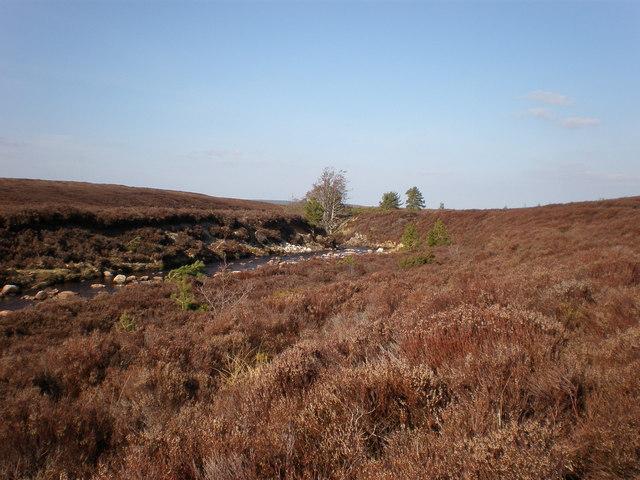Leonach Burn meandering across moorland