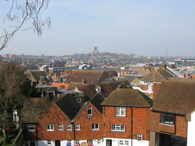 View across Guildford roof tops