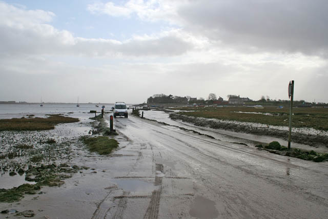 Tidal road across Lades Marsh