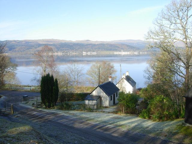 Gate Cottage & Byre after hard frost, looking towards Inveraray
