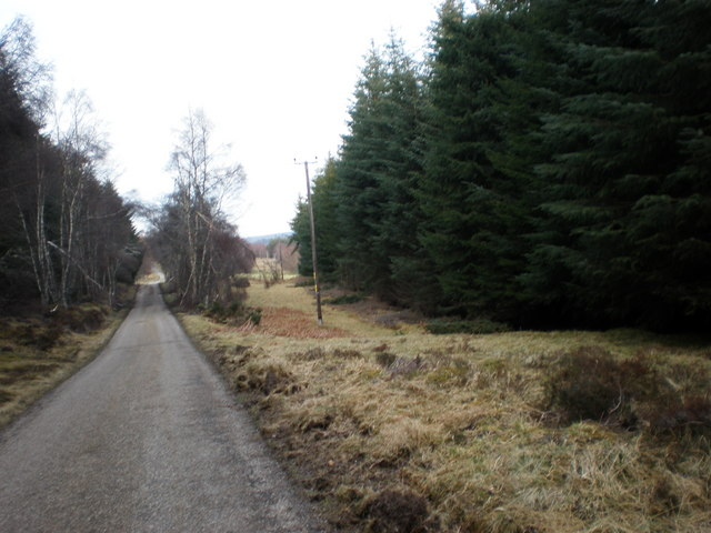 Power lines and Road Going to Drynachan