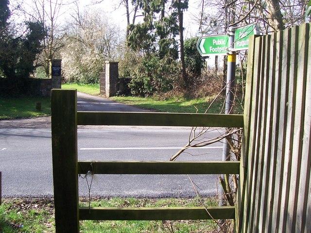 Footpath crosses B2162 Hampstead Lane