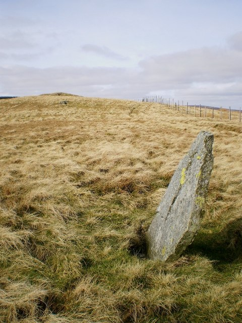 Boundary stone and the summit of Rhos
