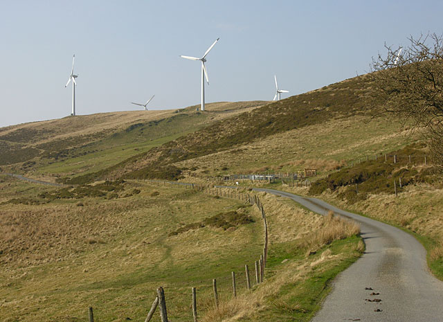 Minor road passing south of the Rheidol Wind Farm