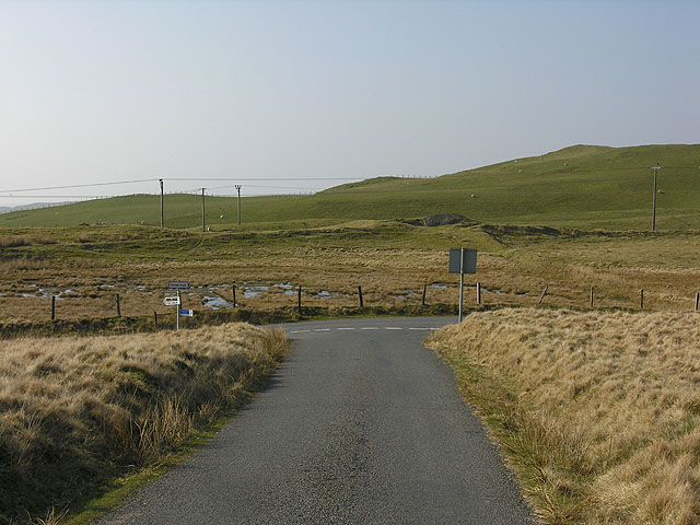 Road junction on the moor