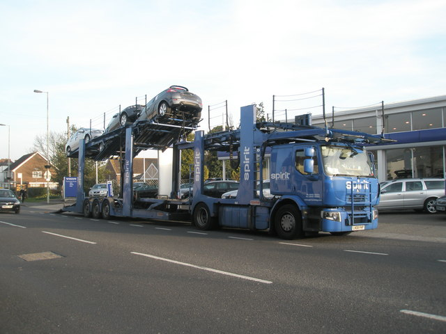 Car transporter outside Cambridge Volvo in Bedhampton Road