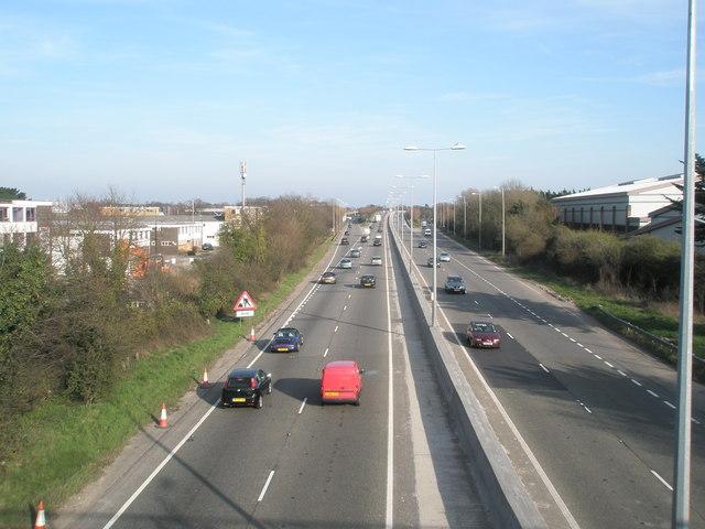 The Havant bypass as seen the bridge in Brockhampton Road