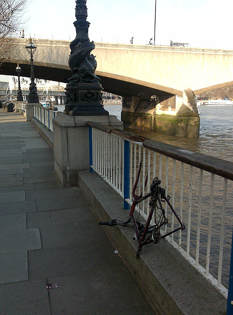 Waterloo Bridge With Abandoned Bike Frame