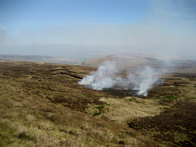 Burning Heather above Whey Gutter