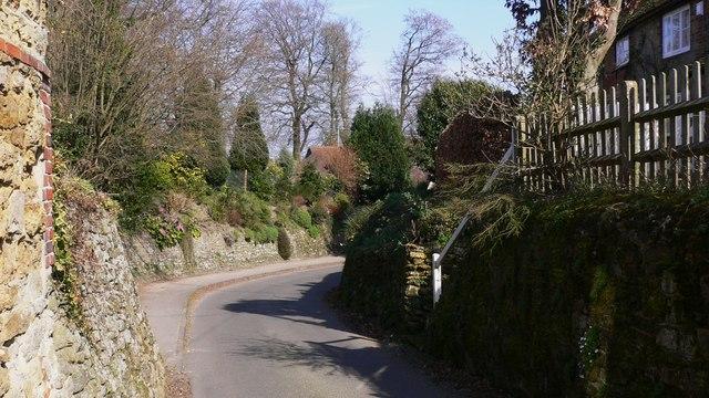 Sharp bend on minor road through Upperton